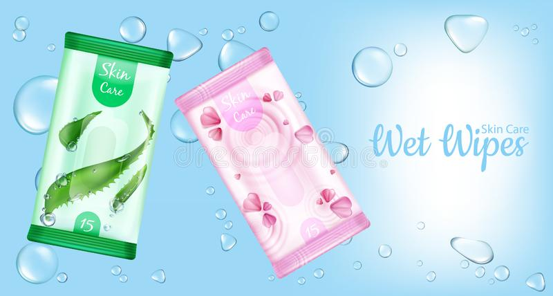 Chiffons humides pour la bannière de maquette de paquets de soins de la peau illustration stock