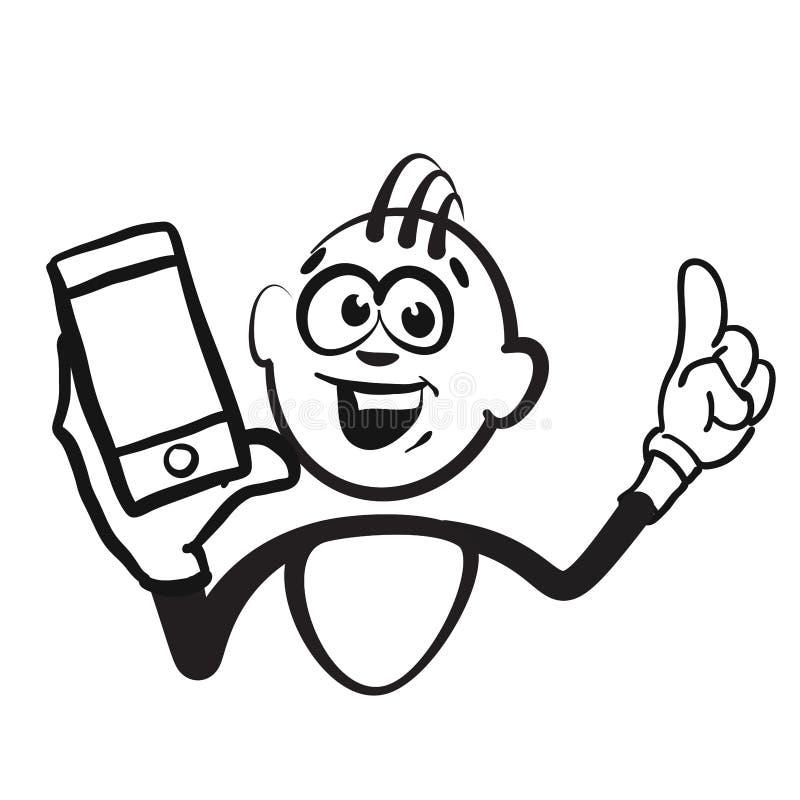 Chiffre émotions de série - portrait de bâton de téléphone portable illustration libre de droits