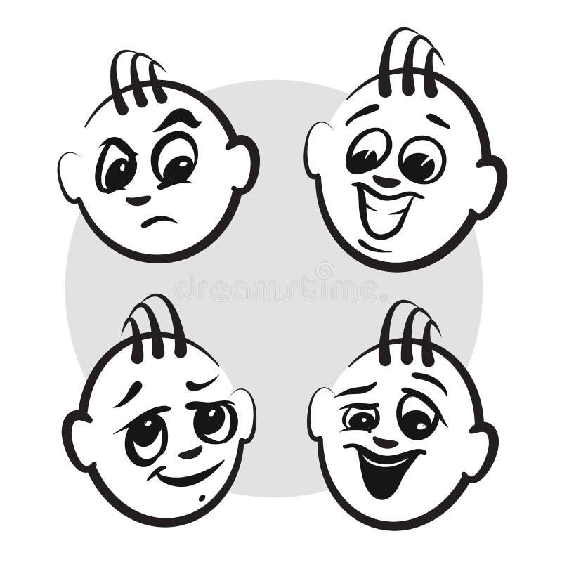 Chiffre émotions de série - visages de bâton de types illustration de vecteur