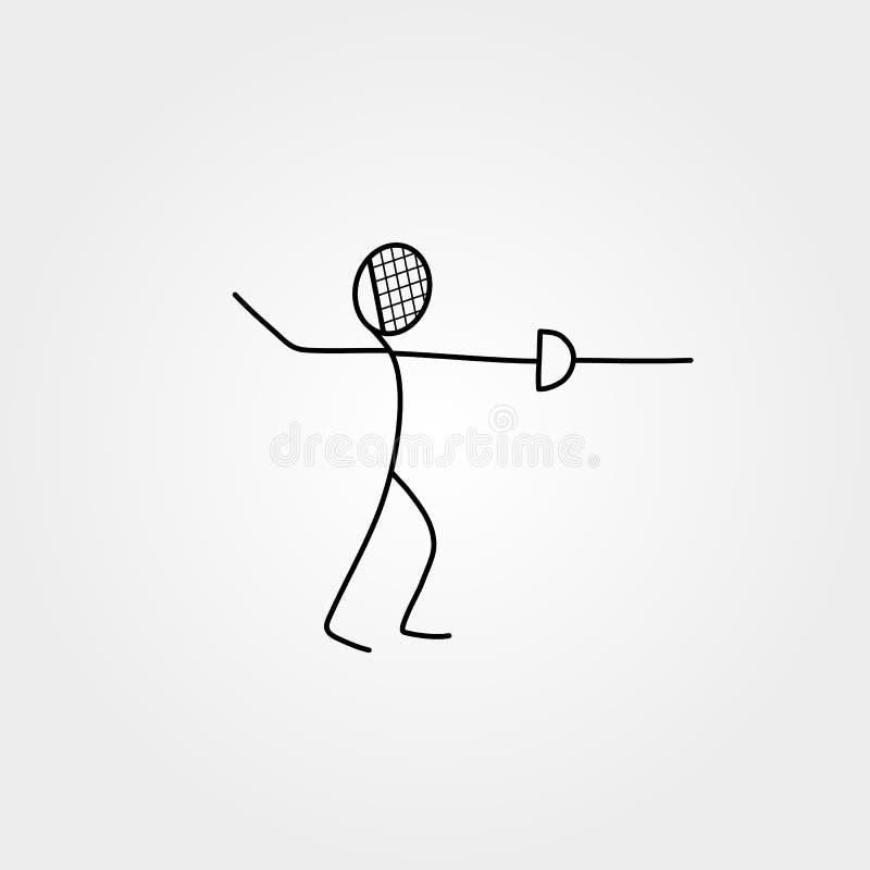 Chiffre épéiste de bâton de sport d'icône de bande dessinée illustration stock