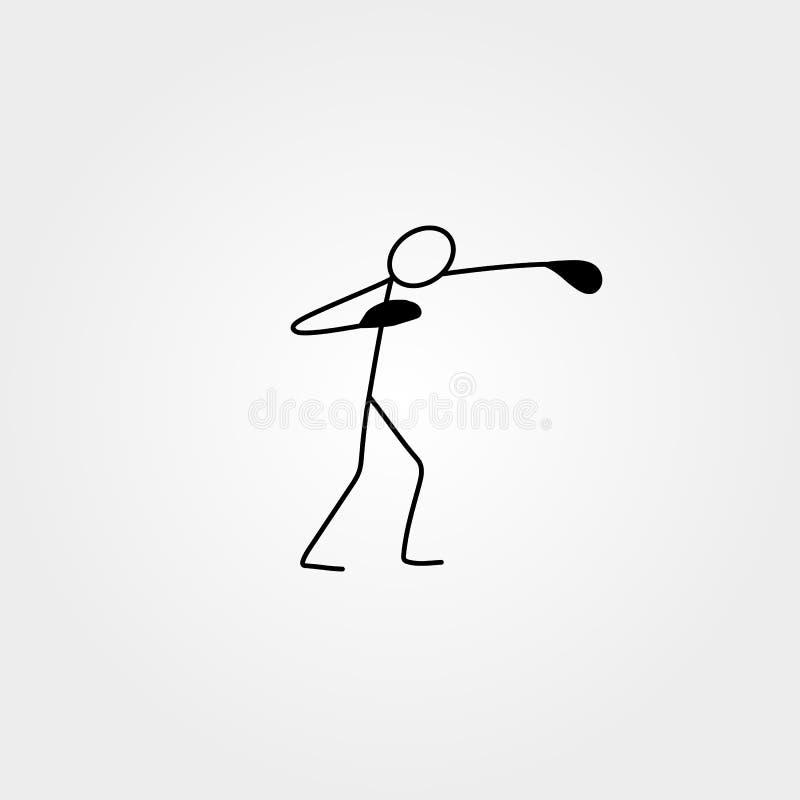 Chiffre épéiste de bâton de sport d'icône de bande dessinée illustration libre de droits