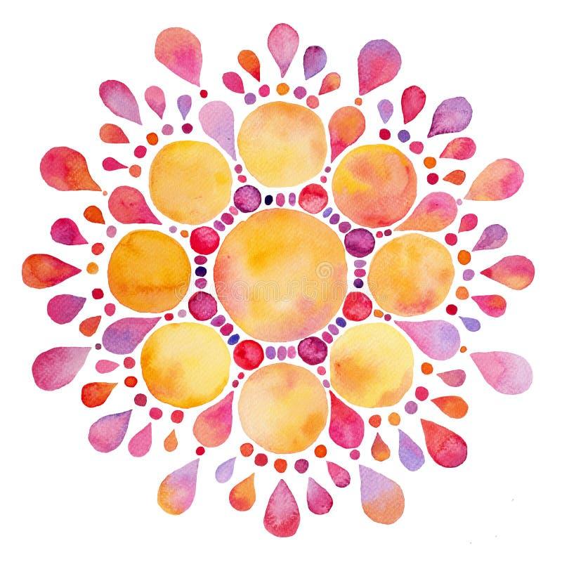 Chiffre abstrait de fleur du soleil d'aquarelle illustration libre de droits