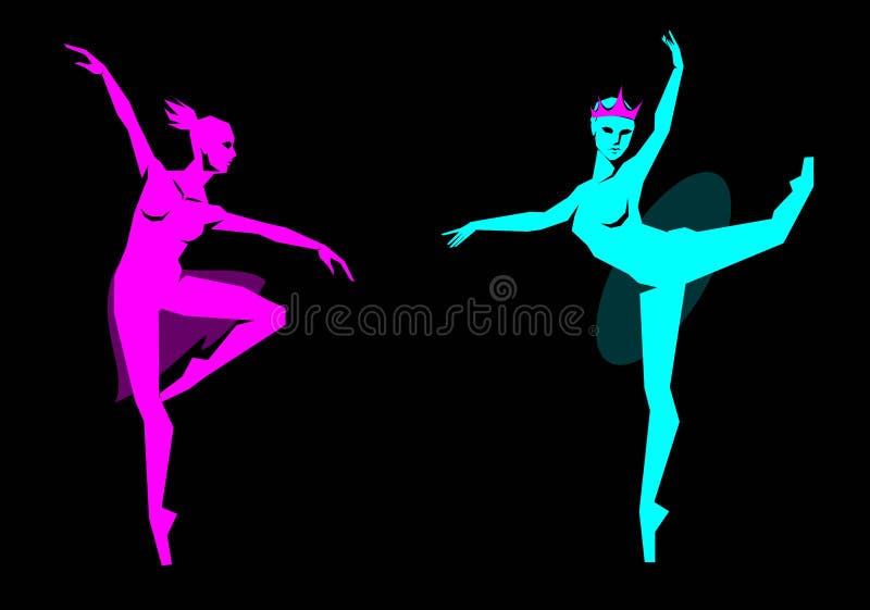 Chiffre angulaire simple danseur classique dans la couronne et dans un tutu transparent illustration libre de droits
