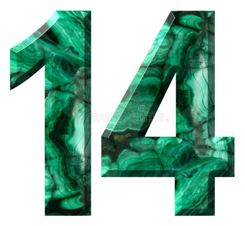 Chiffre arabe 14, quatorze, de la malachite verte naturelle, d'isolement sur le fond blanc illustration stock