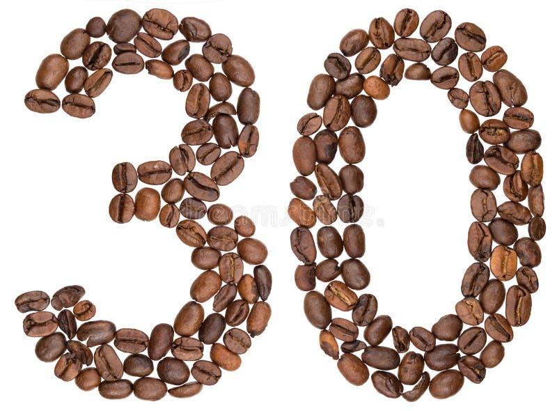 Chiffre arabe 30, trente, des grains de café, d'isolement sur le blanc images libres de droits