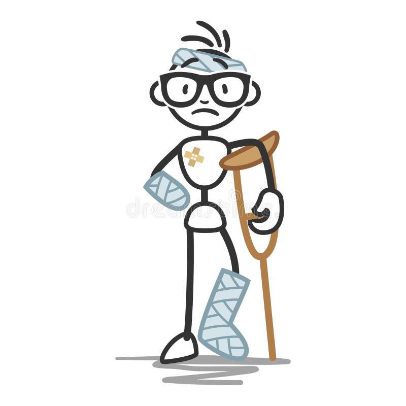 Chiffre bandages de bâton de blessure d'homme de bâton illustration stock