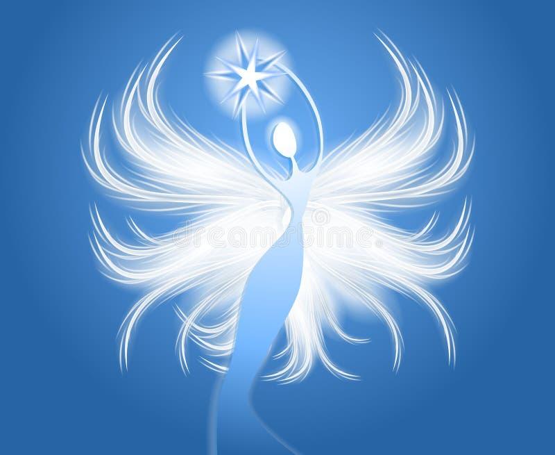 Chiffre bleu d'ange d'étoile de fixation illustration stock