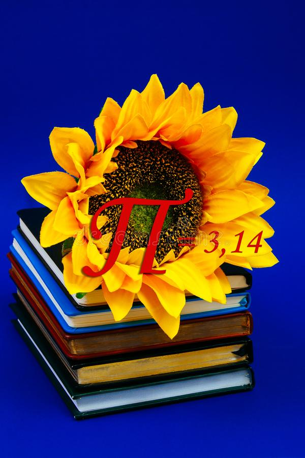 Chiffre bleu de bobine de physique de mathématiques de section d'or de carnet de journal intime de livre d'horticulture du soleil images libres de droits