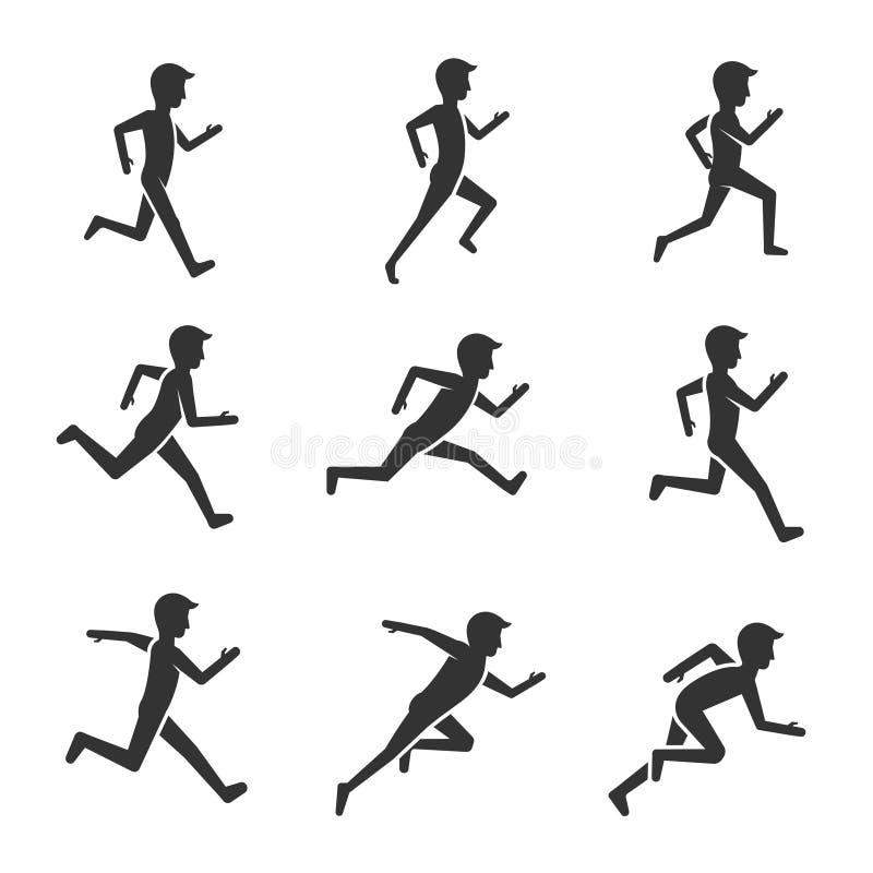 Chiffre courant d'homme de couleur d'isolement sur le fond blanc Pictogrammes de vecteur de mouvement et d'activité d'homme illustration stock