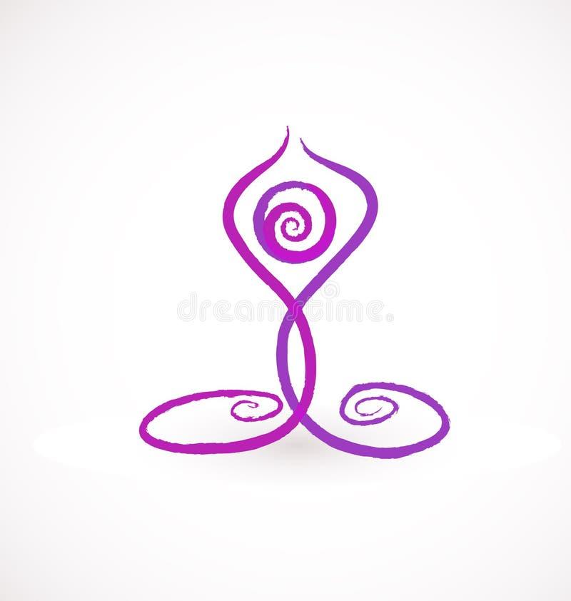Chiffre curatif méditant logo de yoga de vecteur d'icône illustration libre de droits
