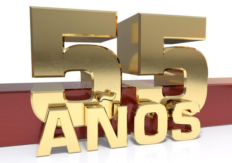 Chiffre d'or cinquante-cinq et le mot de l'année Traduit de l'Espagnol - années illustration 3D illustration stock