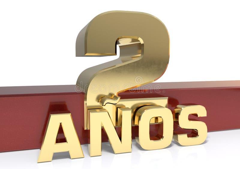 Chiffre d'or deux et le mot de l'année Traduit de l'Espagnol - années illustration 3D illustration de vecteur