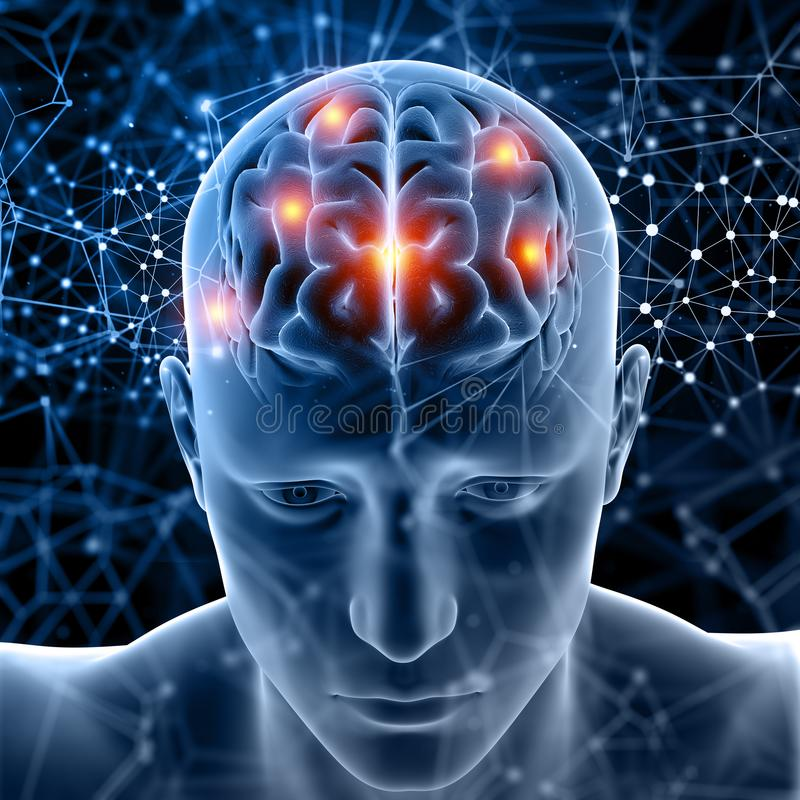 chiffre 3D médical avec le cerveau accentué illustration libre de droits