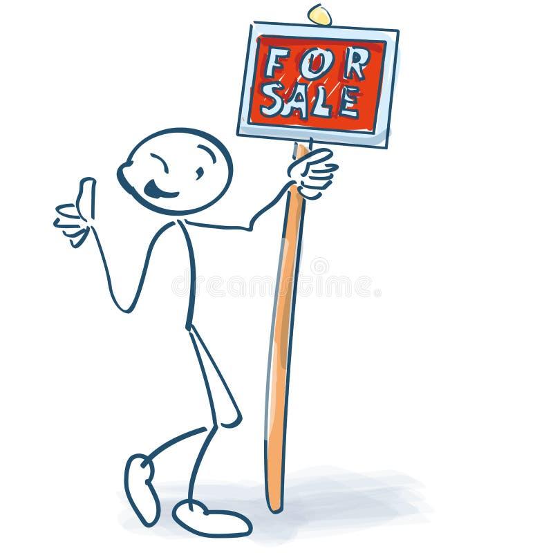 Chiffre de bâton avec un signe rouge à vendre illustration stock