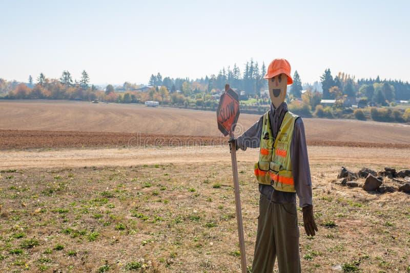 Chiffre de bâton décoré en tant que travailleur de la construction photo stock