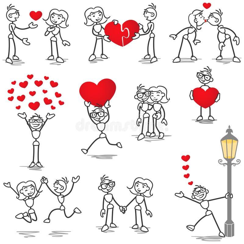 Chiffre de bâton de Stickman dans le baiser de coeur de couples d'amour