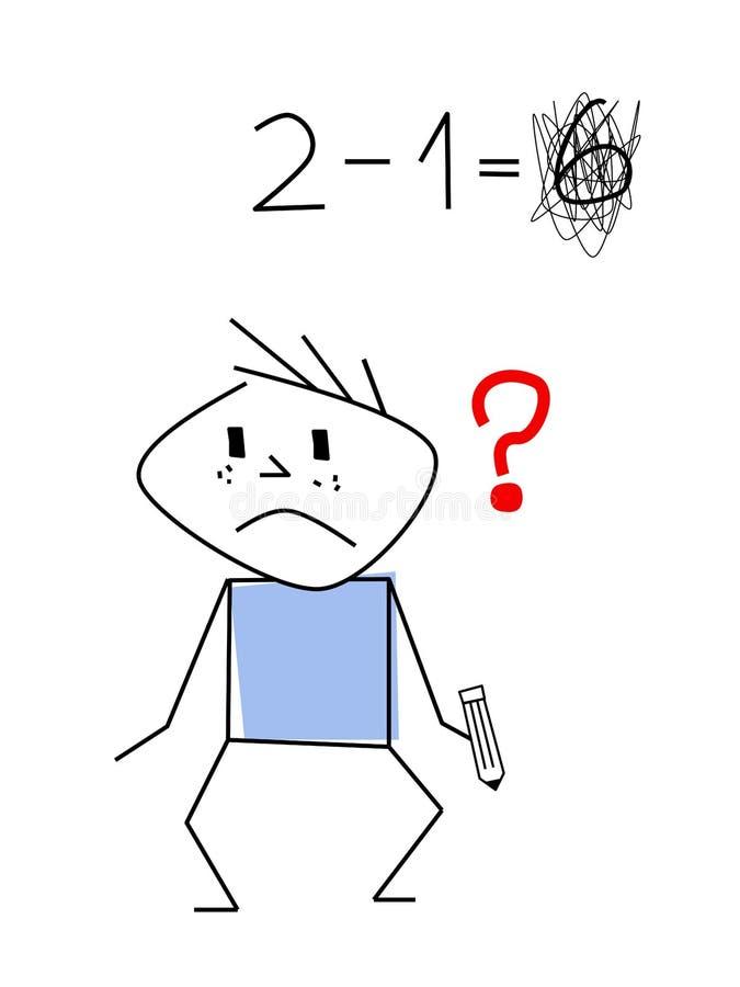 Chiffre de bâton de garçon à l'école illustration de vecteur
