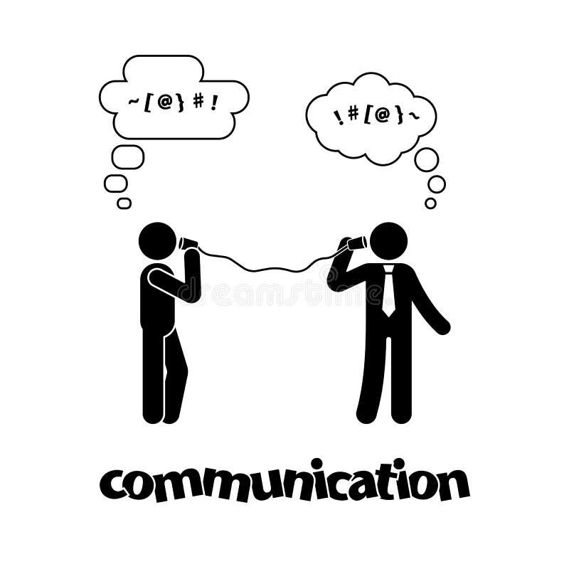 Chiffre de bâton parlant avec le téléphone de boîte en fer blanc Pictogramme de symbole d'icône de communication illustration stock