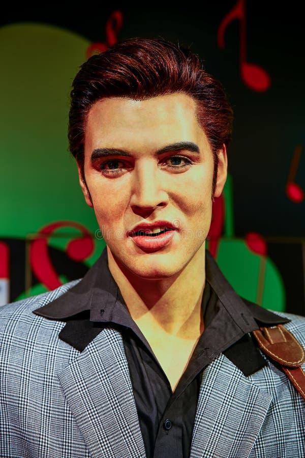Chiffre de cire américain en retard d'Elvis Presley de vedette du rock aux tussauds de Madame à Hong Kong photos libres de droits
