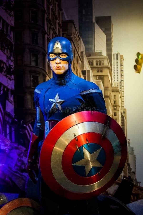 Chiffre de cire de Chris Evans comme capitaine America dans le musée de Madame Tussauds Wax à Amsterdam, Pays-Bas photographie stock libre de droits