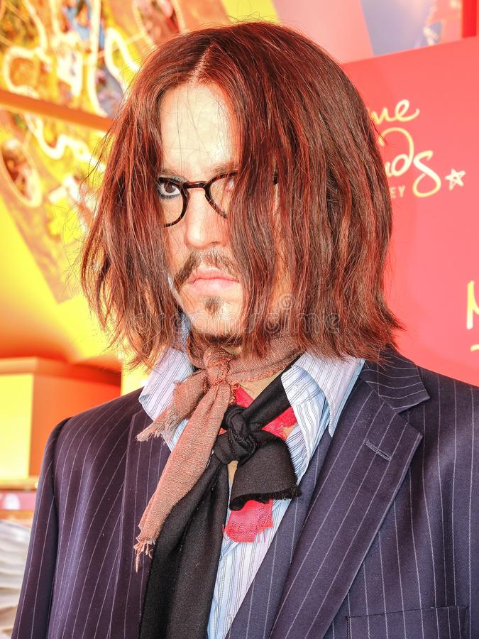 Chiffre de cire d'acteur de Hollywood de depp de type sculpture aux tussauds de Madame photos libres de droits