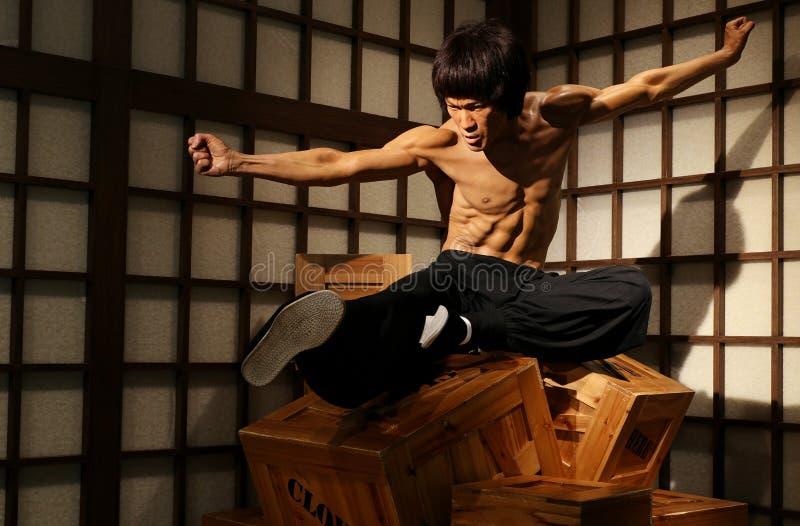 Chiffre de cire d'acteur de hollywood de lie de Bruce aux tussauds de Madame à Hong Kong photo stock