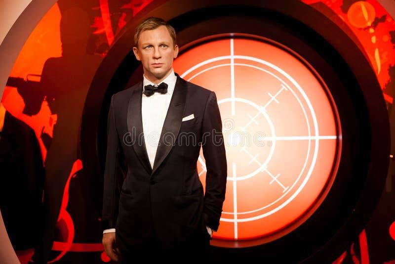 Chiffre de cire de Daniel Craig comme agent de James Bond 007 dans le musée de Madame Tussauds Wax à Amsterdam, Pays-Bas image stock