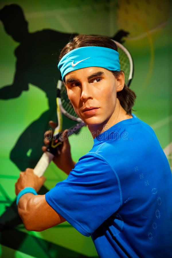 Chiffre de cire de joueur de tennis de Rafael Nadal dans le musée de Madame Tussauds Wax à Amsterdam, Pays-Bas photos libres de droits