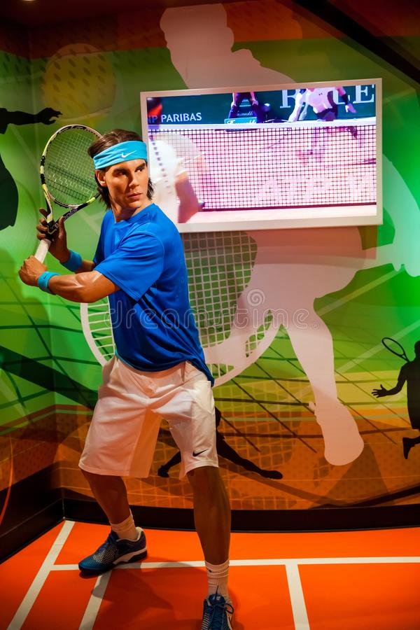 Chiffre de cire de joueur de tennis de Rafael Nadal dans le musée de Madame Tussauds Wax à Amsterdam, Pays-Bas images libres de droits