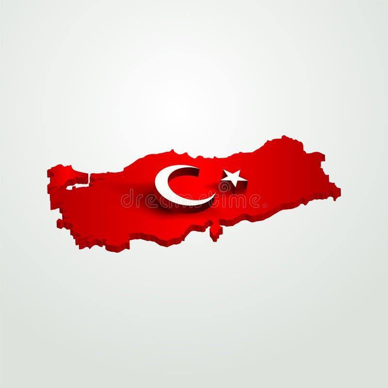 chiffre de la lune 3D et d'étoile sur la carte de la dinde 3D rendre, dinde de ondulation de drapeau, drapeau turc, illustration  illustration libre de droits