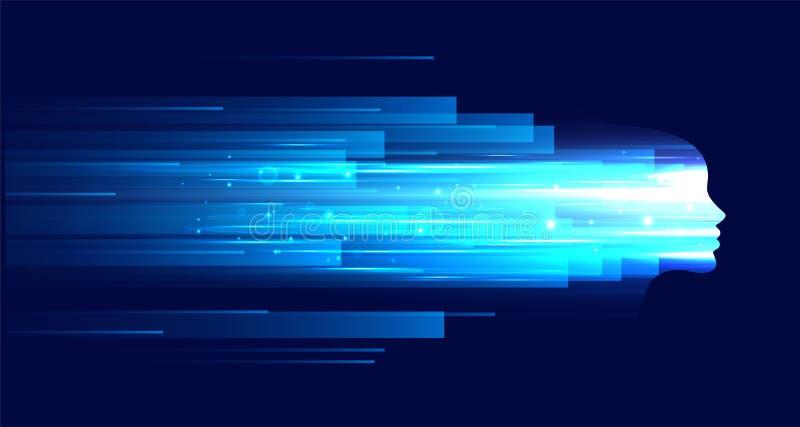Chiffre de visage de technologie avec les stries claires bleues illustration stock