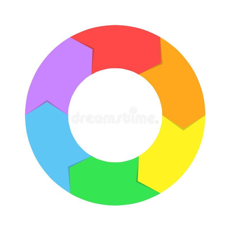 Chiffre denteux icône de jeu de flèches de cercle de puzzle D'isolement et appartement illustration stock