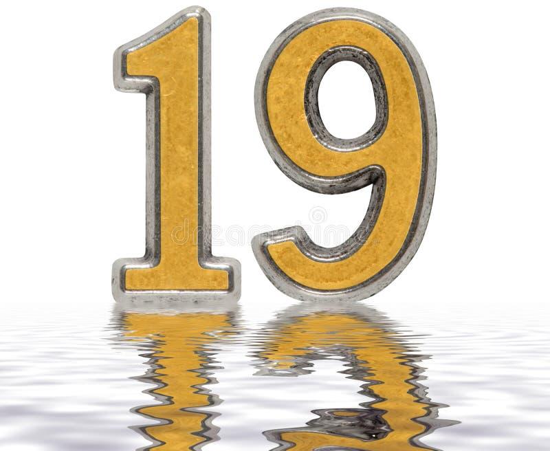 Chiffre 19, dix-neuf, réfléchi sur la surface de l'eau, d'isolement illustration stock