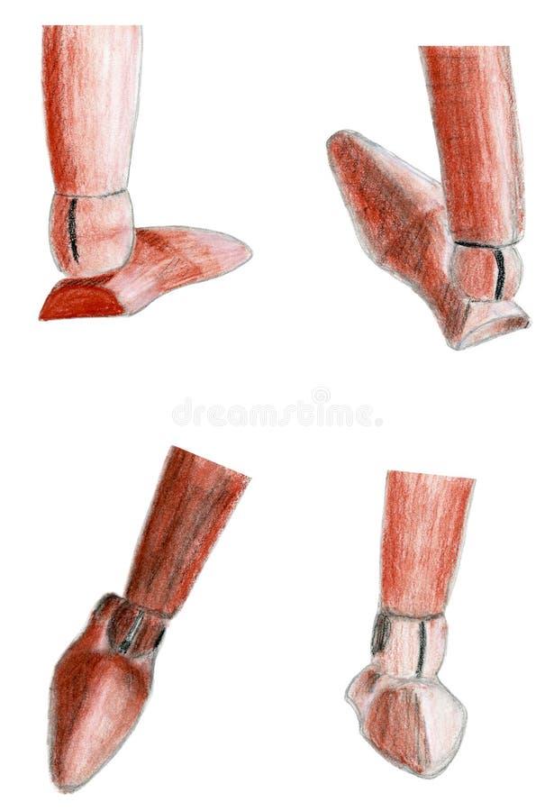 Chiffre en bois illustration de sépia tirée par la main réglée de pied photographie stock libre de droits