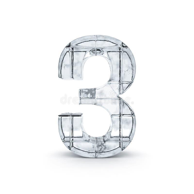 Chiffre fabriqué à partir de la glace 3d illustration stock