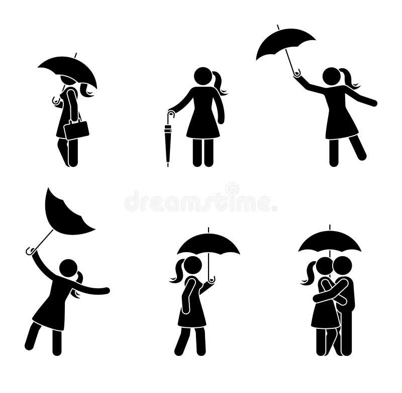 Chiffre femme de bâton avec le divers ensemble d'icône de parapluie Femelle et embrassant des couples sous la pluie sur le fond b illustration libre de droits