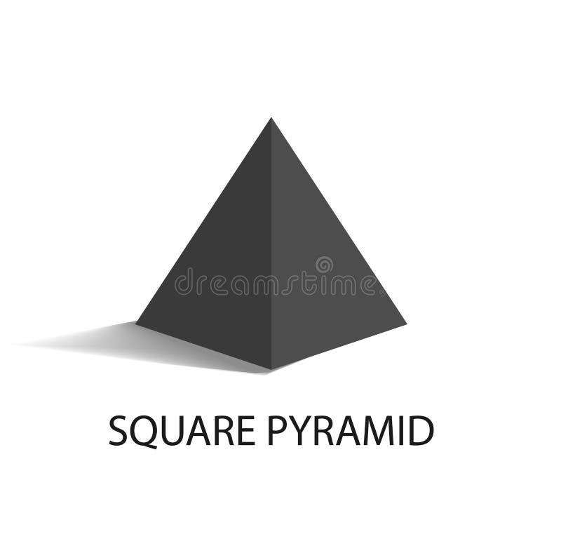 Chiffre géométrique de pyramide carrée dans la couleur noire illustration libre de droits