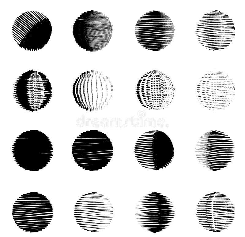 Chiffre géométrique ensemble de formes rondes de croquis illustration libre de droits