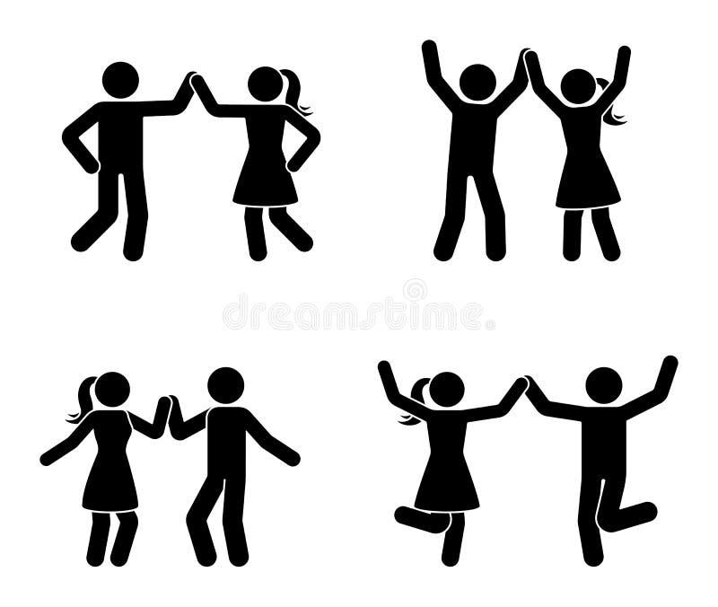 Chiffre heureux de bâton d'homme et de femme dansant ensemble Les couples noirs et blancs apprécient l'icône de partie illustration libre de droits
