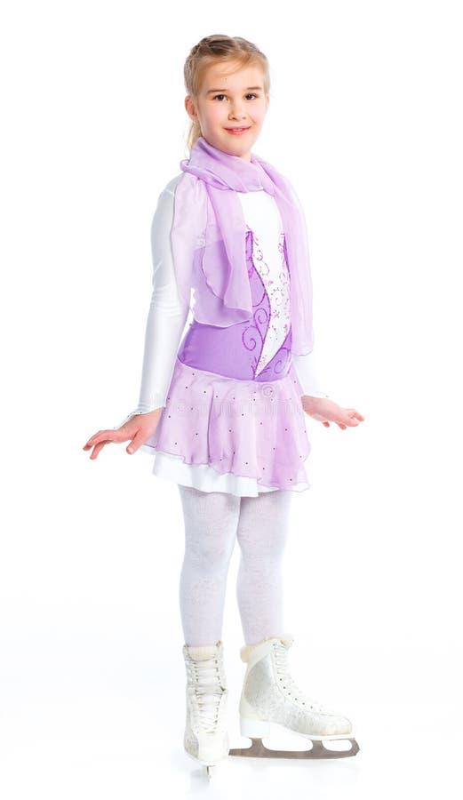 Chiffre heureux patinage de jeune fille. D'isolement. photo libre de droits