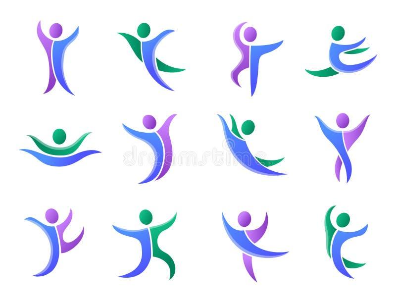 Chiffre humain illustration de personnes de silhouette de représentation de logo abstrait de caractère de vecteur de pose illustration stock