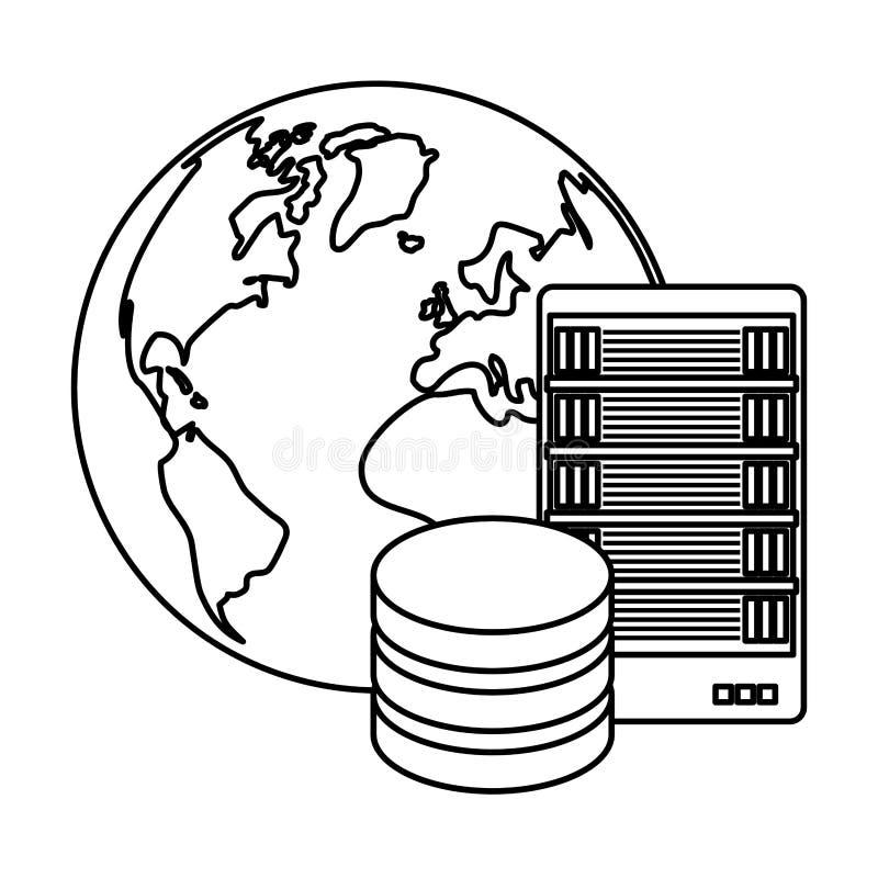 chiffre icône globale de bannière de serveur de base de données illustration stock