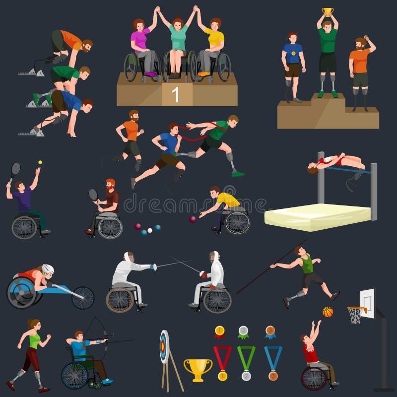 Chiffre icônes de bâton de jeux de Paralympic de sport d'handicap de débronchement de pictogramme illustration de vecteur