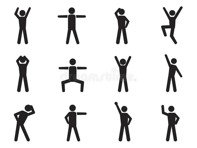 Chiffre icônes de bâton de posture illustration libre de droits