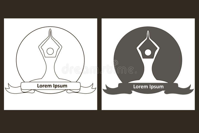 Chiffre monochrome logo de yoga de croquis de cercle dans deux versions Silhouette, ruban, lorem ipsum illustration stock