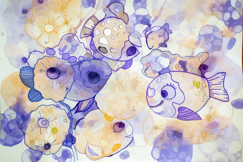 Chiffre mystérieux abstrait bulles et poisson illustration de vecteur