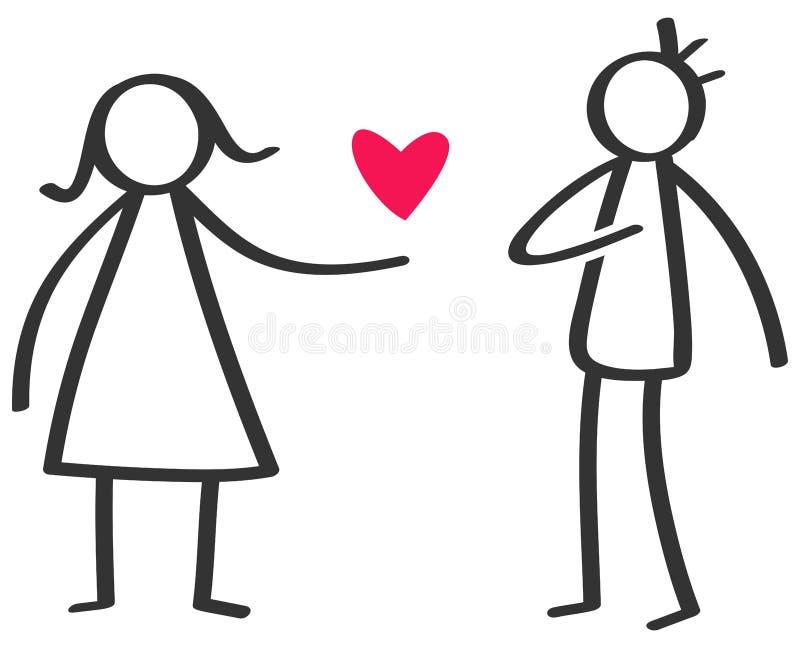 Chiffre noir et blanc simple femme de bâton donnant à amour le coeur rouge à l'homme, déclaration de l'amour illustration de vecteur