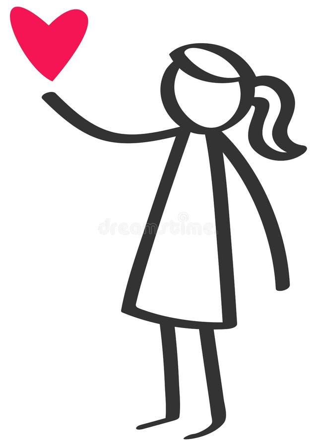 Chiffre noir et blanc simple fille de bâton donnant à amour le coeur rouge, jour du ` s de mère d'isolement sur le fond blanc illustration stock