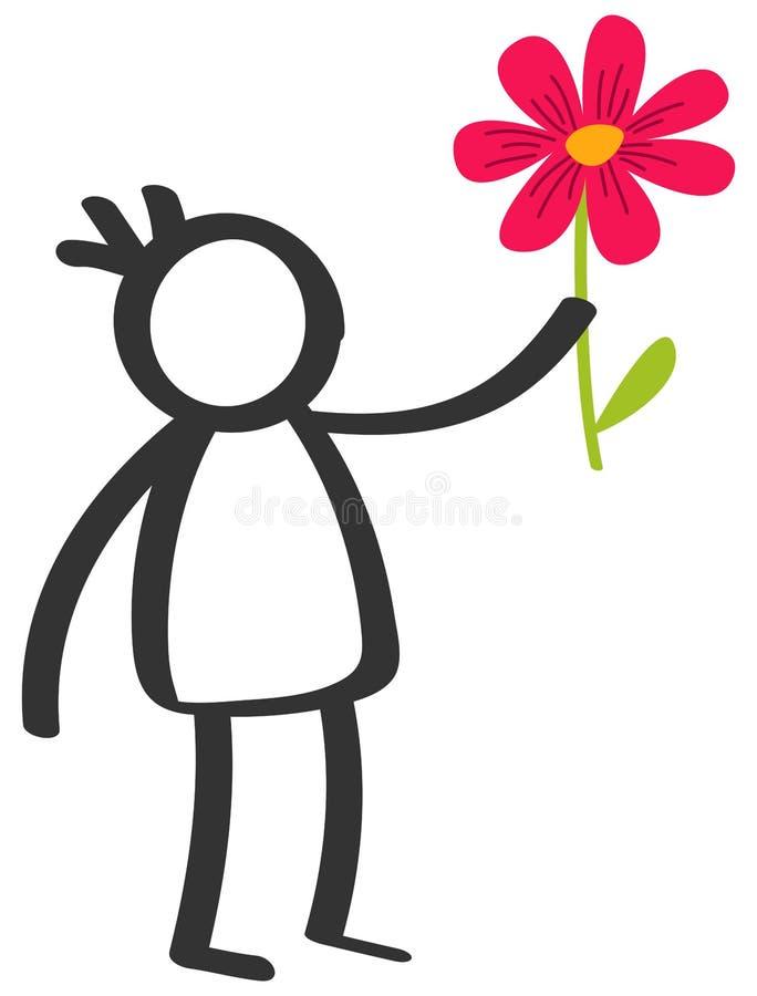Chiffre noir et blanc simple garçon de bâton donnant la fleur, amour, jour du ` s de mère, d'isolement sur le fond blanc illustration libre de droits