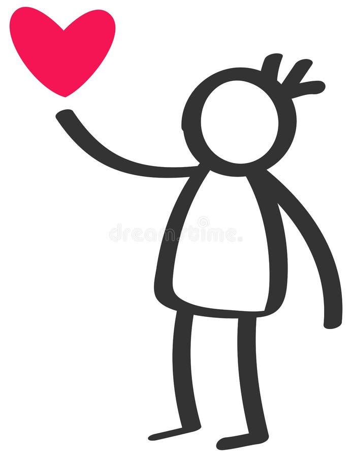 Chiffre noir et blanc simple garçon, enfant de bâton donnant le coeur de rouge d'amour illustration stock
